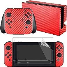 eXtremeRate Nintendo Switch Sticker Skin Folie Abziehbild Aufkleber Faceplates Decal Klebefolie mit 2 Displayschutzfolie für Nintendo Switch Console&Joy-Con&Dock&Grip(Rot)