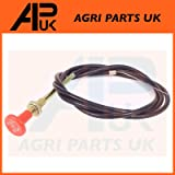 APUK Universal Tractor Plant Digger Dumper Engine Stop pull Cable 1.5m Red Round Knob