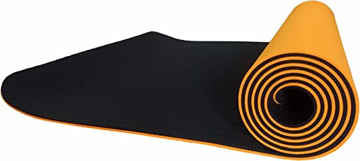 Kros kart yoga mats(6mm) thick- for men, women and children used for gyming, stretching, yoga; Eco-friendly mats, anti-slip, good quality, superior cushioning; With cover and bag at low prices.(Orange And Black)