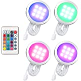 Lixada 4/6/8 PCS Mince Forme RGB LED sous Le Cabinet Lumière Kit SMD5050 Puck Lampe Couleur Variable Dimmable Luminosité Régl