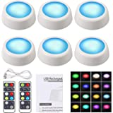 Justech 6PCs Under Cabinet Lights 16 Colors RGB Wireless LED Puck Lights Dimmable LED Cupboard Lighting Color Changing Night