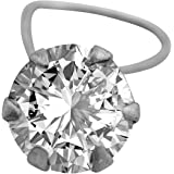 Memoir Silver Plated Brass, Single Solitaire Look, Swiss Cubic Zirconia (CZ) Nose pin Women Girls