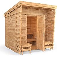 ISIDOR Holzbau Outdoor sauna sauna cabin sauna 2x2m solid wood panel roof (including HARVIA BC80)