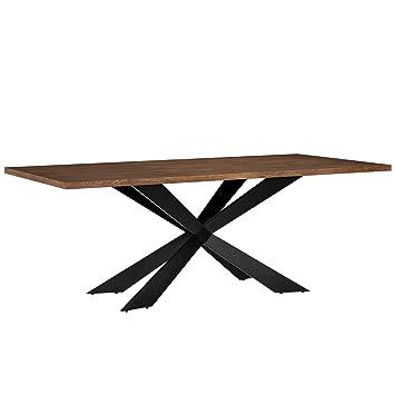 [en.casa] Esszimmertisch Für 6 8 Stühle Walnuss 200x100cm Holz Rechteckig  Esszimmer