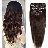 8pz 45cm Clip 100% Capelli Reali Remy Human Hair Extension Setoso Lungo Liscio Parrucca Marrone