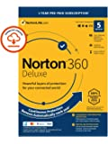 Norton 360 Deluxe 2021, Antivirus software for 5 Devices and 1-year subscription with automatic renewal, Includes Secure…