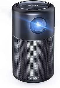 NEBULA Capsule von Anker, Mini Beamer mit WLAN, Minimalistischer Projektor 100 ANSI lm, Taschenkino, DLP, 360° Lautsprecher, 100 Zoll, Android 7.1, 4H Akku, mit App, ideal Zuhause, Home Entertainment