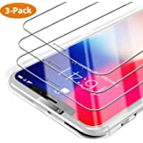 Syncwire Verre Trempé iPhone XS/X [Lot de 3] [Face ID Complètement Protégé] Film Protection Ecran Vitre HD, Dureté 9H pour iPhone XS/X [Incassable, sans Bulles, 3D-Touch, Facile à Installer]