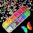 Kalolary 1Pcs Vlinder Nagel pailletten, Holografische Glitter nagel pailletten DIY Manicure Nagel Art Tips (G)