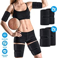 OUTERDO Arm and Thigh Trimmers for Women & Men(4 Piece Kit) Body Exercise Wraps Adjustable to Lose Fat Reduce Cellulite and