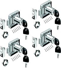 youtu 4 Stück Möbelschloß Zylinder-Möbelschloss Aufschraubschloss Schloß Schrank Set für Schubladen & Schränke | Stahl vernickelt | Dornmaß: 22 mm