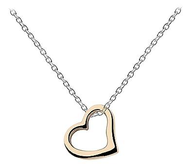 Halskette silber  Dew Damen-Halskette, Sterling-Silber 925, vergoldet, offenes Herz ...