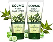 Amazon Brand - Solimo Neem Facewash with Aloe & Cucumber Extracts, SLES & Paraben Free, 2 X 150 ml