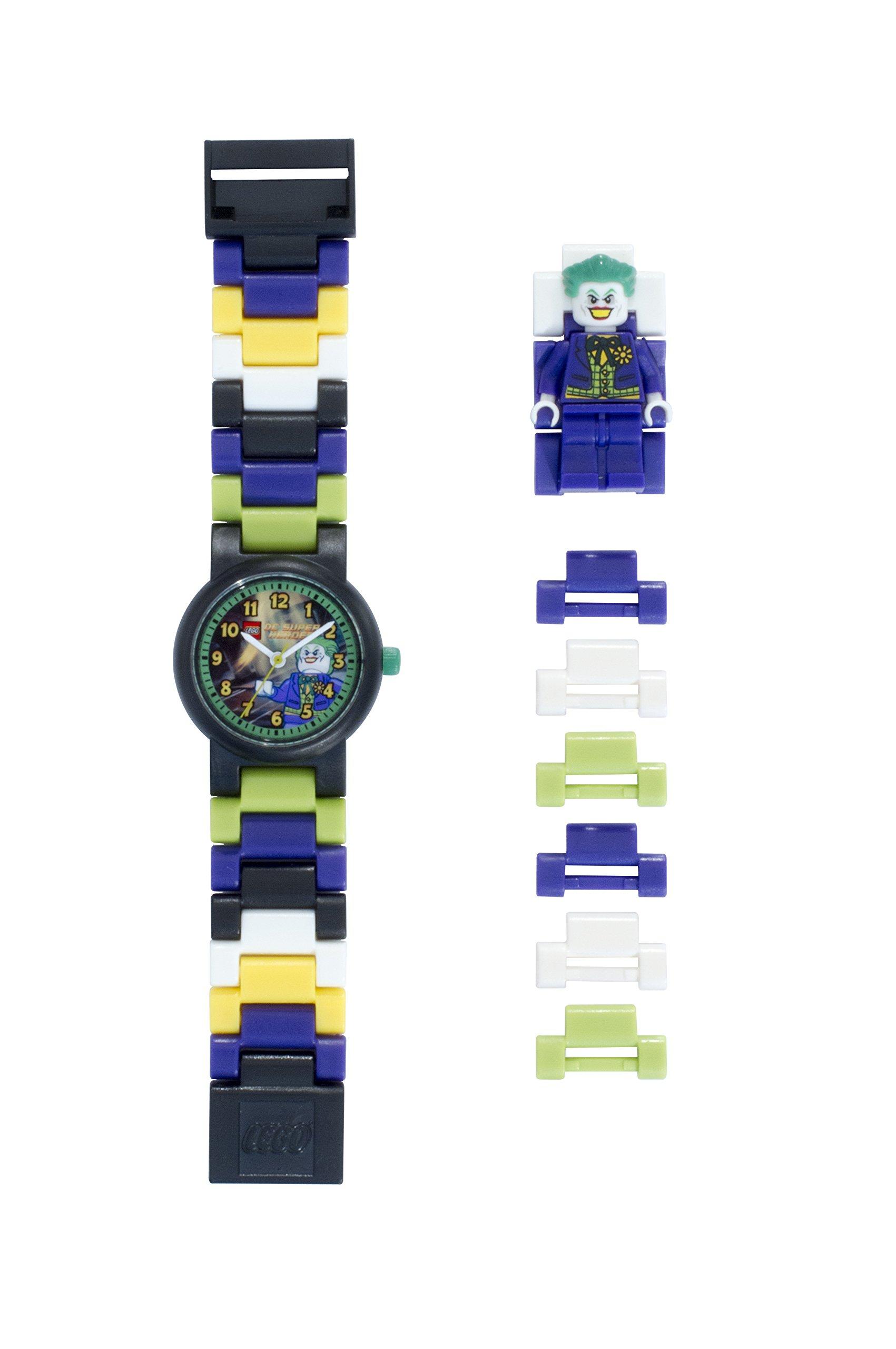 LEGO Batman Movie 9001239 Joker Kinder-Armbanduhr mit Minifigur und Gliederarmband zum Zusammenbauen| violett/grün| Kunststoff| Gehäusedurchmesser 25mm| analoge Quarzuhr| Junge/Mädchen| offiziell