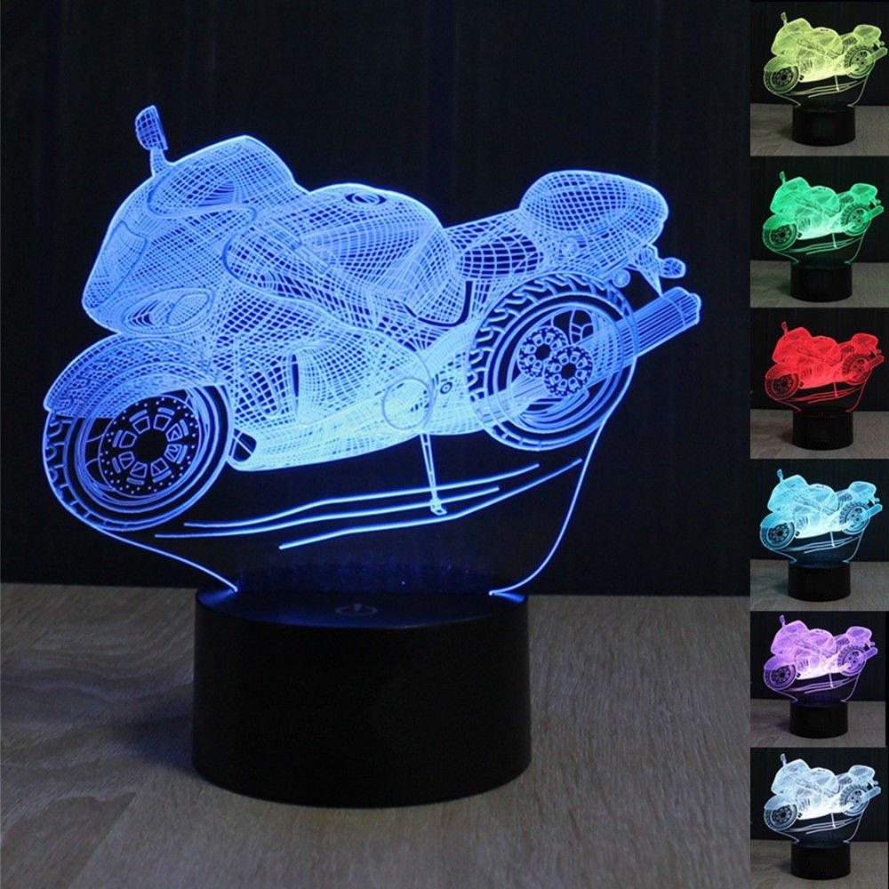 3D Illusion Lampe Motorrad LED Nachtlicht, USB-Stromversorgung 7 Farben Blinken Berührungsschalter Schlafzimmer...