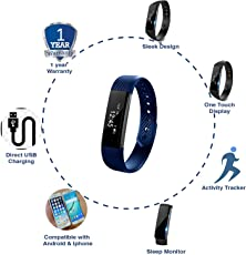 Cardio Max JSB HF110 Fitness Band Watch for iPhone and Android (Blue)