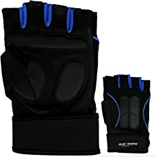 AllExtreme Half Finger Velcro Design Bike Gloves for Men/Women Road Racing (M,Blue)