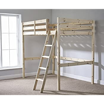 Loft Bunk Bed Heavy Duty 3ft Single Wooden High Sleeper Bunkbed