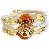 VENEZIA CLASSICA - Bracciale da Donna Albero della vita con perle in Vetro di Murano Originale e tre giri di vera pelle Tosca