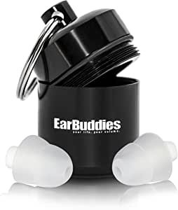 Ear Buddies PRO Gehörschutz 28dB Ohrstöpsel aus Silikon mit Alubehälter für Musik, Konzert, Festival, Disco, Reise, Flug