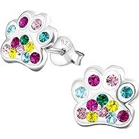 Laimons Mädchen Kids Kinder-Ohrstecker Ohrringe Kinderschmuck Hundepfote Pfote Tier in verschiedene Farben mit Glitzer aus Sterling Silber 925