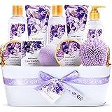Coffret de Bain & Douche pour Femme, Body&Earth 11 Pièces Coffret Cadeau au Parfum de Lavande, avec Panier Décoratif, Parfait