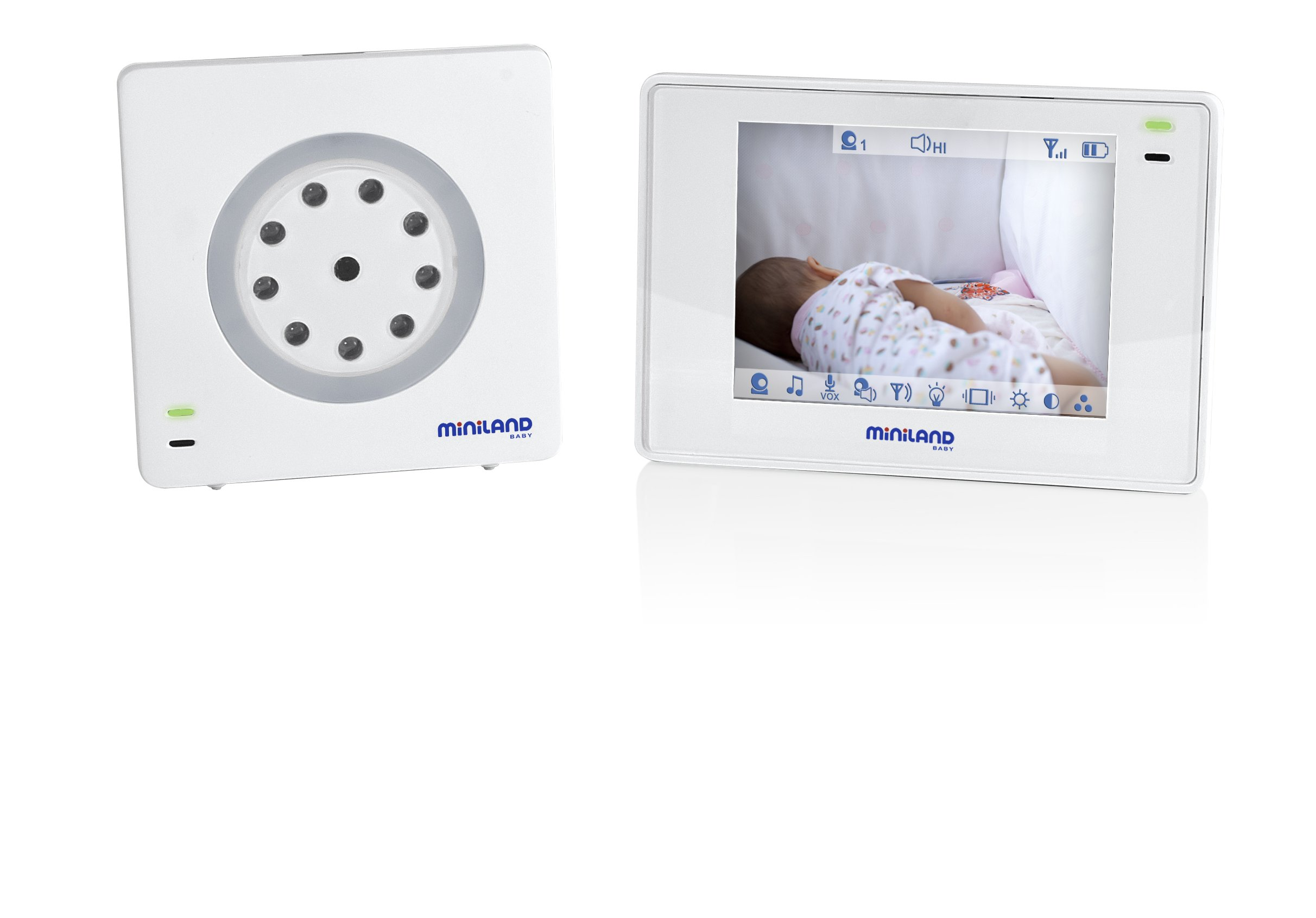 "Miniland digimonitor 3.5 ""Digital Video Plus Baby Monitor, Multifunctional and with a Screen Size Intermediate, White"