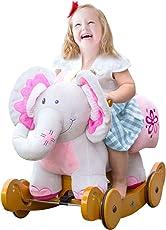 Labebe Cavallo a Dondolo e Passeggino di Legno per Bambino Giocattoli Cavalcabili con Carta Sana 1-3 Anni (Elefante Rosa)