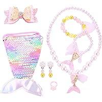 Seatecks - Set di 7 collane per bambini, con paillettes, a forma di sirena, per braccialetti e orecchini, per feste…