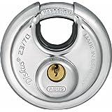 ABUS KG 44754 23/70 Diskus gehard stalen beugel hangslot, grijs, 70 mm