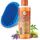 WOW DOG Dog Shampoo Anti-Bacterial & Anti-Dandruff with Organic Natural Neem & Lavender Essential Oils 500 ml with Bath Brush