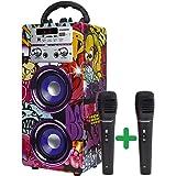 DYNASONIC - (3rd Gen) Draagbare bluetooth luidspreker met karaoke modus en microfoon, FM radio en SD usb lezer (Model 12, 2 m