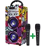 DYNASONIC - Altoparlante Bluetooth Portatile (3a Generazione) con modalità Karaoke e Microfono, Radio FM e Lettore SD…