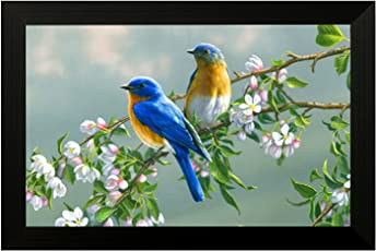 EK Number Birds Design Framed Painting(Size 22CM x 3CM x 30CM)