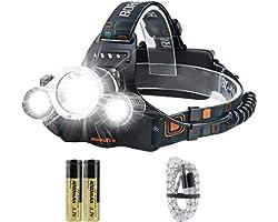 BORUIT RJ-3000 LED Head Torch,Super Bright 5000 Lumens USB Rechargeable LED Headlamp Headlight,Waterproof XM-L2 4 Modes Hands