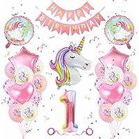 Einhorn Geburtstagsdeko 1 Jahr, Geburtstagsdeko Mädchen 1 Jahr, Banydoll Einhorn Deko Kindergeburtstag, Luftballon 1…