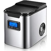 Machine à Glaçons avec Cuillère à Glaçons et Panier, 26 lbs/12 kg en 24 Heures, 9 Glaçons en 6-8 Minutes, 2 L…