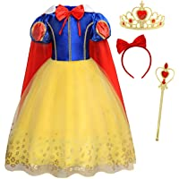 AmzBarley Robe de Princesse Blanche Neige Costume Fille Habiller Enfant Cosplay Fête Déguisement Anniversaire Carnaval…