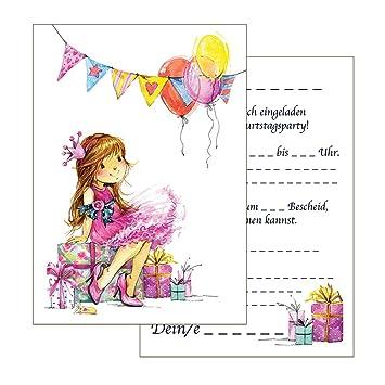 Set: 15 Einladungskarten Kindergeburtstag: Prinzessin  Geburtstagseinladungen Einladungen Geburtstag Kinder Mädchen (15 Karten Mit  15 Passenden Umschlägen ...