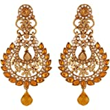 I Jewels Traditional Gold Plated Elegantly Handcrafted Kundan & Stone Earrings for Women