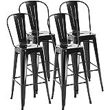 HOMCOM Lot de 4 tabourets de Bar Industriel avec Dossier Hauteur Assise 76,5 cm métal Noir