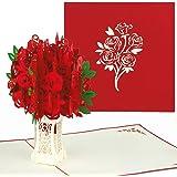 PaperCrush® Pop-Up Karte Rote Rosen - 3D Valentinstagskarte für Freundin, Frau, besondere Anlässe (Geburtstagskarte, Jahrestag) - Romantische Hochzeitstag-Karte für Sie