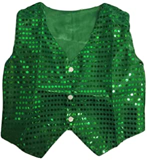 ARAUS Kids Sequin Vest Jacket Glittery Waistcoat Jazz Hip-Hop Dance Party Costume 4-15 Years