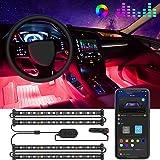 مصابيح سيارة داخلية من جوفي، شريط مصابيح LED للسيارة مع خطين بتصميم مقاوم للماء، مجموعة اضاءة للسيارة وتحكم في تطبيق 48 LED،