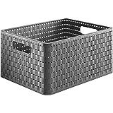 Rotho Country Boîte de rangement 18l en rotin, Plastique (PP) sans BPA, anthracite, A4/18l (36.8 x 27.8 x 19.1 cm)