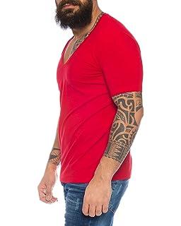 88d5b0479f185b Herren T-Shirt tiefer V-Ausschnitt Slimfit einfarbig deep V-Neck Basic  Kurzarm