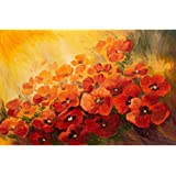 Pitaara Box Poppies On A Red Yellow Background Unframed Canvas Painting 30.2 X 20Inch
