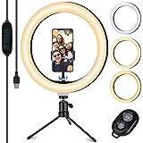 """TVLIVE Luce per Selfie, 10.2"""" LED Ring Light con Stativo Treppiede, 3 Modalità Colore,10 Livelli di Luminosità e Telecomando"""