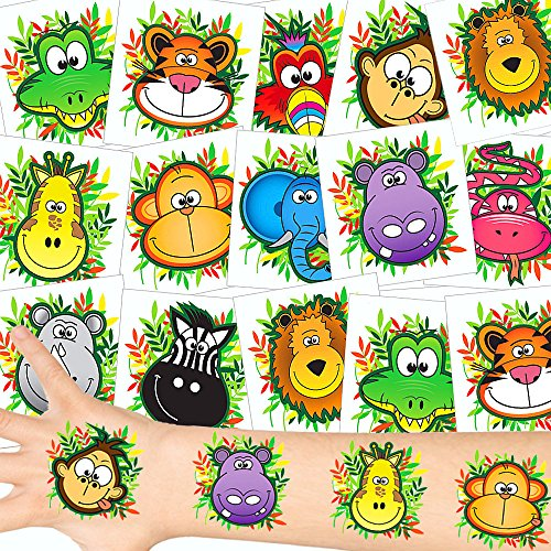 German Trendseller® - Safari Tattoos Set ┃ NEU ┃ Dschungel Party ┃ Kindergeburtstag ┃ Mitgebsel ┃36 Tattoos (Tattoo Zebra)