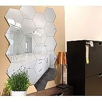 WallDaddy Hexagon 20 Silver - 3D Acrylic Decorative Mirror Wall Sticker for Home & Office